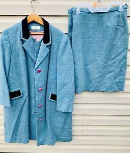 Vintage Pendleton Women's Wool Coat Suit Blazer Skirt Set Size 18