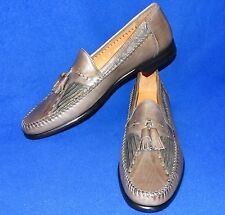 NEW 10 AA E.T. WRIGHT GREY Leather LIZARD TASSLE Loafers MENS Shoes Slip On