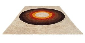 5 X 7 Mid Century Danish Modern Rya Style Shag Rug or Carpet after Verner Panton