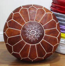 STUFFED MOROCCAN POUF DARK TAN LEATHER POUFFE OTTOMAN FOOTSTOOL HIGH QUALITY
