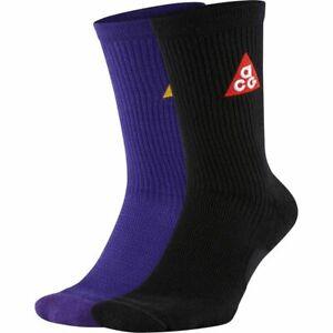 NWT 2 PAIRS NIKE ACG 365 CREW SOCKS Crew Socks Mens sz 14-16 PURPLE/Black