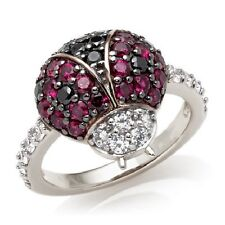 STERLING SILVER SIMULATED RUBY & DIAMOND LADYBUG RING NATURE 6 SIMULATED DIAMOND