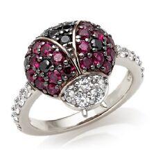 STERLING SILVER SIMULATED RUBY & DIAMOND LADYBUG RING NATURE 6 SIMULATED DIAMOND