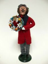 Very Good Condition 1993 Byers Choice Male Caroler With Long Red Coat Signed