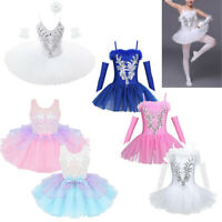 Girl Ballet Dance Dress Kids Ballerina Swan Costume Leotard Tutu Skirt Dancewear