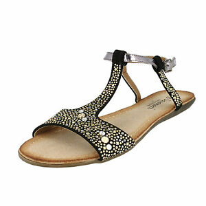 SALE Savannah F0771 Ladies Black Studded Detail Synthetic Summer Sandals