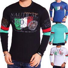 Herren Sweatshirt Langarmshirt Sweat Longsleeve Italien Langarm Rücken Freizeit