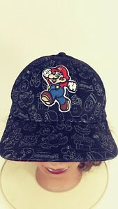 2010 Black Super Mario Nintendo Baseball Cap Hat One Size Stretch Fit