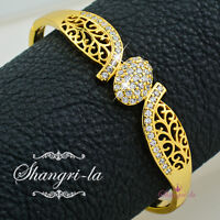 18K Yellow GOLD GF Filigree BANGLE BRACELET MADE With SWAROVSKI CRYSTAL EX476