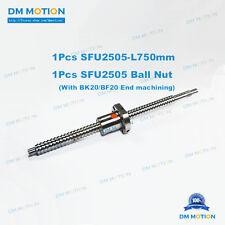 25mm Ballscrew SFU2505 750mm RM2505 +Ballnut with BK20BF20 end machining DIY CNC