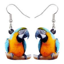 Acrylic Colorful Macaw Parrot Bird Earrings Drop Dangle Animal Jewelry For Women