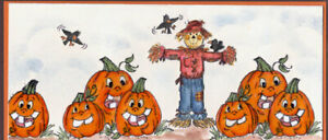 """FALL SCARECROW 3"""" RETIRED UGET PHOTO 2 SEEexamples Art impression rubber stamps"""