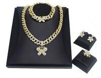 #51 HUGS & KISSES Miami Cuban Set Necklace bracelet Earrings Ring 18k Layered...