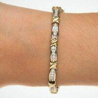 "2.00 CT Round Diamond ""X"" link tennis bracelet In 14K White & Yellow Gold Over"