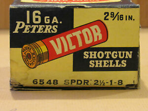 Vintage Peters DuPont Rustless Victor 16 gauge Antique Shotgun shell box EMPTY!