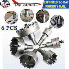 6 Pcs Cemented Carbide Hole Saw Bit Metalworking Cutter Tool Set 22mm-65mm USA