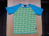 Maxomorra Retro T-shirt Jungen 122 / 128 grün türkis Rennautos organic Bio öko