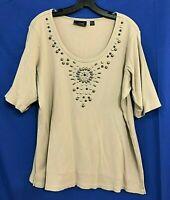 AVENUE Cotton Ribbed Knit Shirt/Top BRONZE/SILVER STONE Neckline Beige Sz 18/20