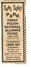 SANS SOUCI PARK - POLISH NATIONAL  - WILKES-BARRE PA SUNDAY INDEPENDENT AD 1970