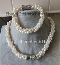 3 Stränge 6-7mm weiße barocke Süßwasserperlen Halskette Armband Magnetverschluss