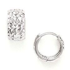 Women/Children's Unique 14K Solid White Gold Diamond Cut Huggie Earrings ER-HW89