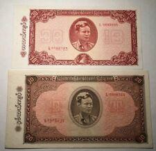 1965 Burma 10 & 20 Kyats - AUNC (Set of 2 Notes)