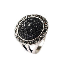 Grace Small Black Round Rhinestone Tibetan Silver Plated Lady Girl Rings Jewelry