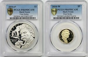 2PC 2016-P-W First Strike Mark Twain $1 $5 PCGS PR69 DCAM Modern Commemorative