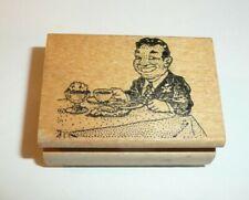 Comic Guy Having Dinner Ken Brown Stamps VTG 1984 Creepy Smile Grin Icecream ODD