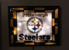 Pittsburgh Steelers Inspired Bar Sign Man Cave Stained Glass Look Lighted