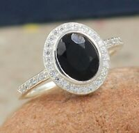 Natural Black Onyx CZ Gemstone Engagement Ring Size 8 Solid 925 Sterling Silver