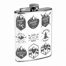 Vintage Skiing Skier Skis D40 Flask 8oz Stainless Steel Hip Drinking Whiskey B&W