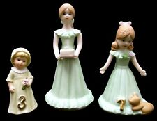 3-Piece Lot Figurines-Enesco Growing Up Birthday Girls 1982 + Eic 1986-Ages 3, 7