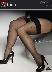 PLUS SIZE Hold ups Stockings 15 den Sheer Lace Top XL XXXL XXXXL Adrian Gwenn