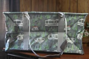 Large Utility Tote (new) RV THERE YET GREY - GREY W/ TREES &  CUTE CAMPERS