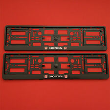 NEW 2 x HONDA BLACK NUMBER PLATE SURROUNDS HOLDER FRAME FOR ANY HONDA CAR NEW