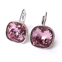 Dusty Rose Pink Drop Earrings w/ 12mm Cushion Cut Swarovski Crystal Prom Gift