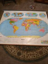 Vintage nystrom World Pulldown school Classroom Map 1NS99