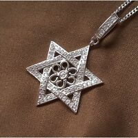 925 Sterling Silver 0.75 Ct Cubic Zirconia Star Of David Pendant Chain Necklace