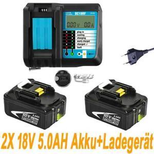 2x 18V 5.0AH Akku für Makita BL1840 BL1850 BL1860 mit Led Anzeige+Ladegerät