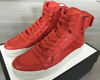 850$ Gucci Orange Leather High tops Sneakers Size US 9.5 Made In Italy