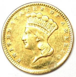 1857 Indian Gold Dollar Coin (G$1) - XF / AU Details (Damage) - Rare Coin!