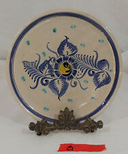 TONALA MEXICAN POTTERY by CAT Floral Plate Cobalt Blue Flower and Rim G