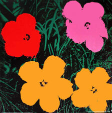 ANDY WARHOL Flowers Red Pink Orange Offset Litho Print 38 x 38