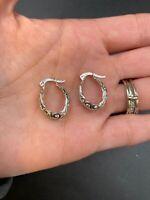 Sterling Silver Vintage 925 Beautiful Filagree Hoop Latch Earrings #F751