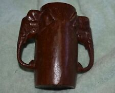 TO-007 - Carved Wood Elephant Head Handles Drinking Cup Glass Mug Vintage 6 Inch