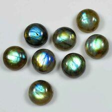25 Pc WHOLESALE LOT BLUE FLASHY LABRADORITE 10X10 MM ROUND CABOCHON FOR JEWELRY