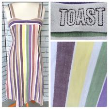 TOAST Summer Dress Sz 12 100% Cotton Pastel Striped Midi Summer / b42
