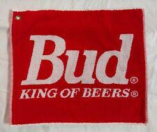 "Vintage Budweiser Bud King Of Beers Towel Plush Red Golf Bar Pub Man Cave 18"""