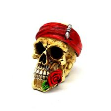 """Pirate Skull Statue with Red Rose Small Skeleton Halloween Figurine 3"""" tall"""